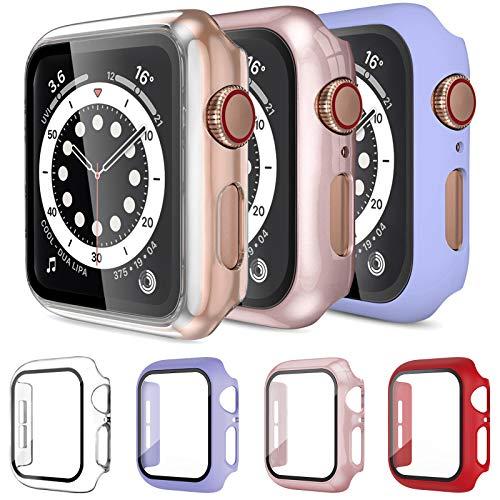 Mocodi 4 Pack Apple Watch Funda 44mm Series 6/5/4/SE con Protector de Pantalla de Vidrio Templado,Cubierta Protectora Completa Resistente a los arañazos para Hombres y Mujeres Accesorios para iWatch