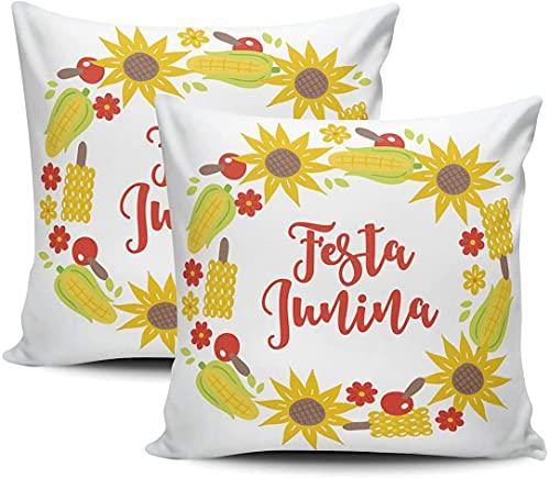 BONRI Funda de almohada para cojín de Festa Junina con corona de girasol, hojas de maíz, flores, funda de cojín decorativa cuadrada de 45,7 x 45,7 cm, juego de 2