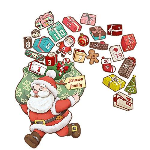 Oliver's Labels - Calendario de Adviento de Navidad personalizado, calcomanías de pared autoadhesivas extraíbles y reutilizables, decoración