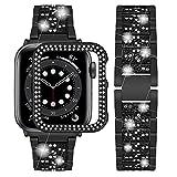Wutwuk Correa Apple Watch Brillo Diamantes Correa Apple Watch de Acero Inoxidable Compatible con Apple Watch 40mm Series SE 6/5/4/3/2/1 con Funda Protectora Correa para Hombres y Mujeres Negra
