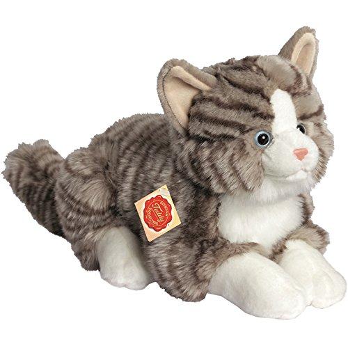 Teddy Hermann 91821 Katze liegend grau 30 cm, Kuscheltier, Plüschtier