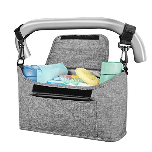 Yoofoss Universal Baby Stroller Organizer Bag with Insulated Cup Holder Detachable Shoulder Strap, Compact Design Fits All Stroller Pockets for Phone, Keys, Toys Fit All Strollers