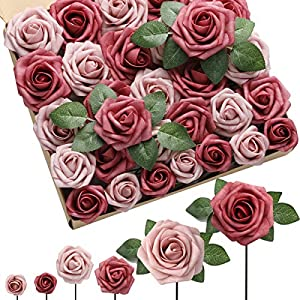DerBlue Artificial Flowers Rose 60pcs Real Looking Fake Rose and 10pcs Leaves for for DIY Wedding Bouquets Centerpieces Arrangements Party Baby Shower Home Decorations (Dual Palette Dusty Cedar)