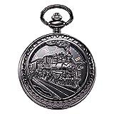 TREEWETO Mens Womens Antique Mechanical Pocket Watch Skeleton Black Case Steam Train Railroad Roman Numerals