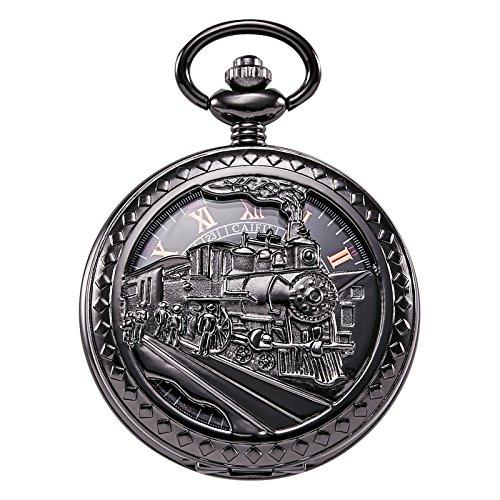TREEWETO Taschenuhr mit Kette Herren Analog Handaufzug Dampflokomotive Römische Ziffern Schwarz
