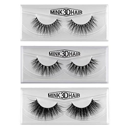 JewelryWe 3D Mink Haar Falsche Wimpern Schwarz 100% handgemacht Eyelasches Wimpernverlängerung Make-up, 3 Paare Pack