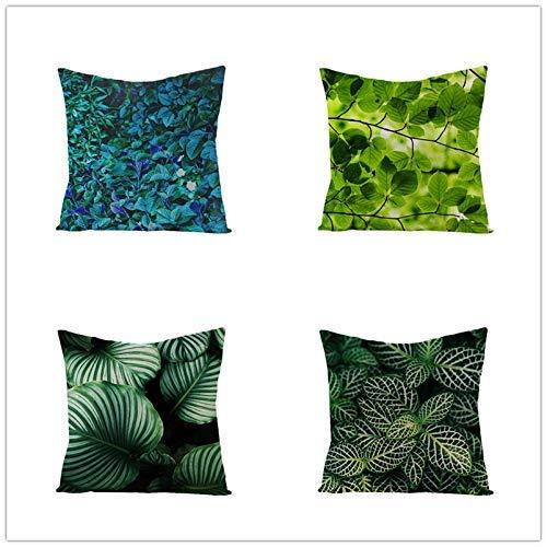 FGA Couvre-oreillers à Usage Domestique Housse de Coussin décorative à Feuilles Vertes pour taie d'oreiller Douce, à la Maison, à l'intérieur ou à l'extérieur (Lot de 4), 45 X 45 cm S