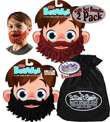 Schylling Beardies Rubber Play Beards for Kids Brown & Black Gift Set Bundle with Bonus Matty's Toy Stop Storage Bag - 2 Pack
