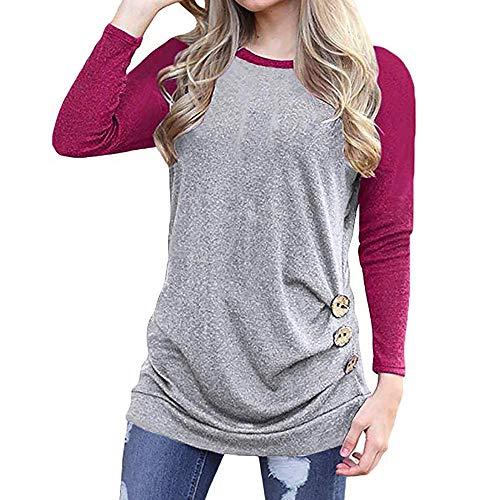 WARMWORD Camisas Mujer Tallas Grande,Primavera Otoño Blusa de Las Mujeres,Básica Camiseta de...
