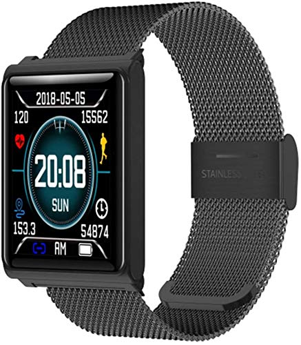 XMZWD Sport-intelligente Uhr N98, wasserdichte Geschäftsuhr des Bluetooth-Herzfrequenz Schritte Schlafes IP68, Für Intelligente Uhr Android-IOS,Black Steel