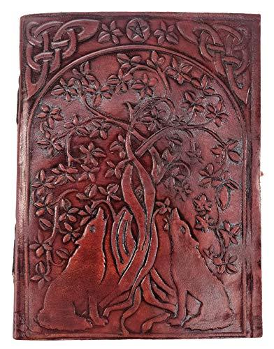 Kooly Zen – Cuaderno de notas, diario, libro, piel auténtica, vintage, perro, lobo árbol de la vida, 13 x 17 cm, 240 páginas, papel premium