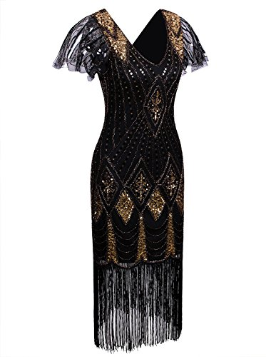Vijiv Women Vintage Style 1920s Dresses Inspired Beaded Cocktail Flapper Dress With Sleeves For Prom Gatsby Party,Black Gold,Small
