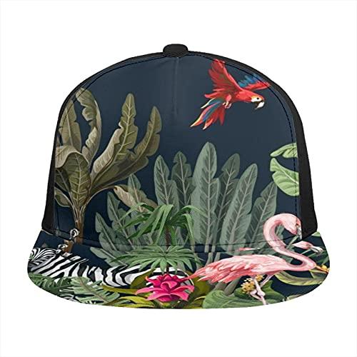 Gorra de béisbol unisex impresa plana con factura tapas de animales de la selva flores árboles patrón verano ajustable empalme Hip Hop Cap sombrero de sol negro