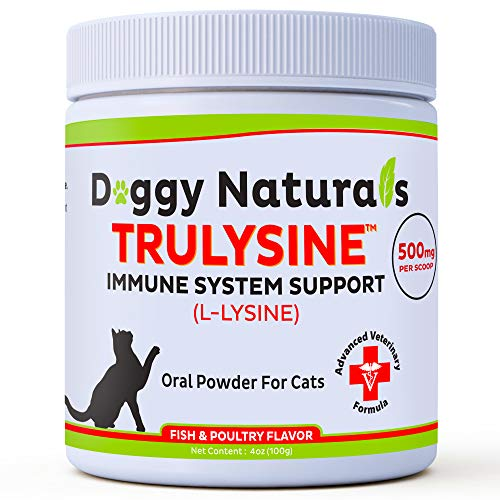 L Lysine for Cats Immune Viralys Support Oral Granule Powder - 500 mg per serving ( 4oz) - Cats & Kittens, Immune Health, Sneezing, Runny Nose,Squinting Palatable Fish & Poultry Flavor L Lysine Powder