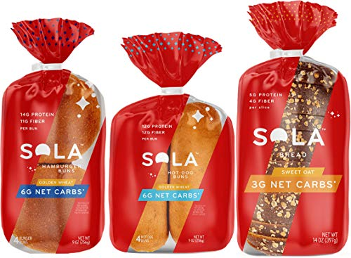 Sola Low Carb Sweet Oat Variety Pack, 1 Sweet Oat Bread, 1 Golden Wheat Hot Dog Buns, 1 Golden Wheat Hamburger Buns, (Pack of 3)
