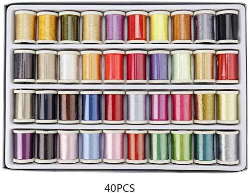 40 colores de hilo de coser (280 m), suministros de costura premium para carretes, sedoso y resistente apto para máquinas de coser a mano, reparación de emergencia, viajes, niños,principiantes y hogar
