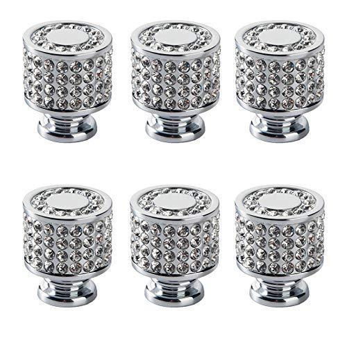SZ-LY Manija Cuadrada De Cristal, Perilla De Cajón De Diamantes De Imitación, Utilizada para Tocador, Cajón, Gabinete, Puerta De Baño, Cocina, Hogar, Oficina (6 Piezas)
