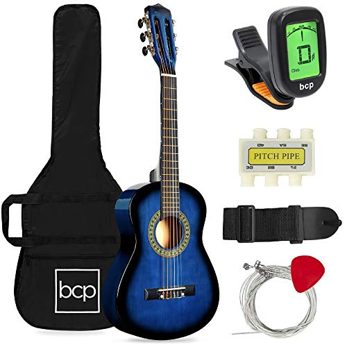 Best Choice Products 30in Kids Acoustic Guitar Beginner Starter Kit with Electric Tuner, Strap, Case, Strings - Blueburst