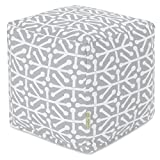 Majestic Home Goods Gray Aruba Indoor/Outdoor Bean Bag Ottoman Pouf Cube 17' L x 17' W x 17' H