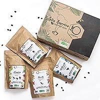 ☘️ CAFE GRAIN 1kg BIO   Café en Grain Arabica   Coffret café dégustation, Torréfaction Artisanale, 4x250g   Idée Cadeau