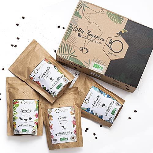 ORIGEENS BIO Kaffeebohnen Probierset 1kg | Premium Arabica Kaffee Ganze Bohnen Set 4x250g | Traditionelle Röstung | Säurearm | Geschenk-Idee