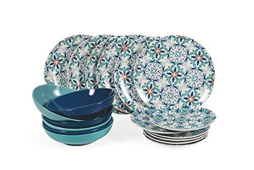 Villa D'Este Home Tivoli 2195329 - Vajilla de 18 piezas, porcelana + gres