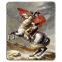 アートマウスパッド-ジャックによるアルプスを横断するナポレオンの有名な美術絵画の天然ゴムマウスパッド-ステッチエッジ