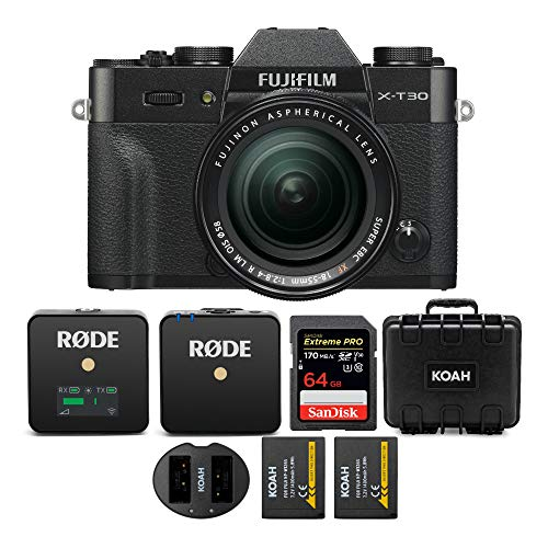 Fujifilm x-t30 mirrorless camera with 18-55mm kit with rode wireless go compact wireless mic system (2. 4 ghz), sandisk 64gb 170 mb/s, koah weatherproof hard case, battery/dual charger bundle (5 items)