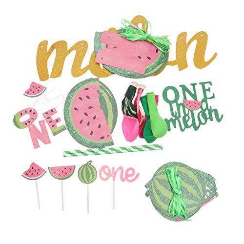 Amosfun Summer Wassermelone Kuchen-Dekoration, Topper Picks Ballon Banner Strohhalm Gastgeschenk Deko Party Supplies Kit