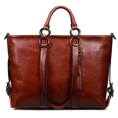 S-ZONE Damen Handtasche 3 Weg Tragen Echtleder Große Shopper Laptoptasche Schultertasche Aktentasche für Büro Schule Einkaufen Reisen (Wein Rot)