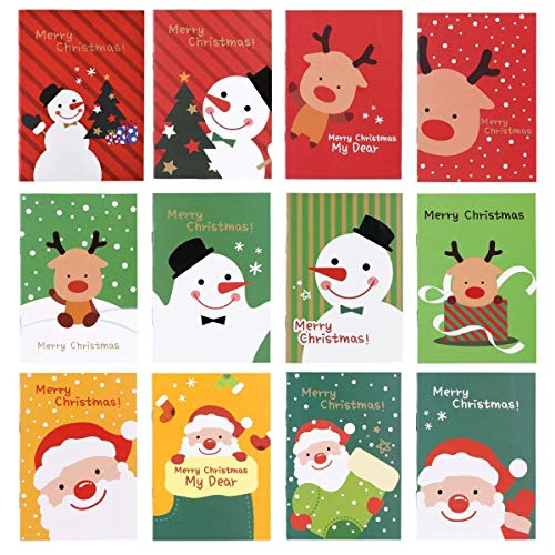 20 Stück mini weihnachten notizblöcke,weihnachten notizbuch klein für kinder,weihnachten muster notizblöcke,tragbares notizbuch weihnachten