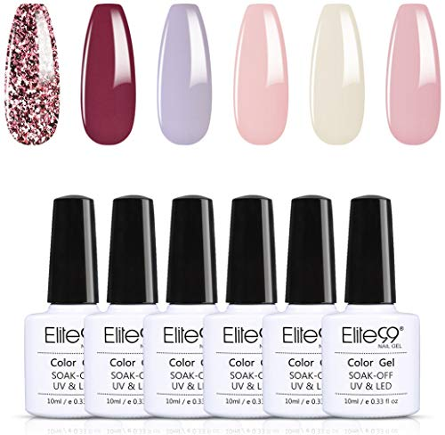 Elite99 Esmaltes de Uñas Semipermanentes, 6 Colores Esmaltes en Gel UV LED, Esmaltes Semipermanentes Soak Off 10ml - Kit 005