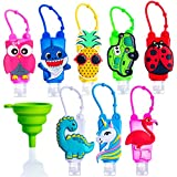 ST 8 PACK Mixed EMPTY Refillable Mini Travel Kids Hand Sanitizer Holder Keychain Squeeze Bottles - Sanitizer or Lotion Holder Silicon (30mL 1 fl Oz) Mini Size   CUTE FUN BUNDLE PACK - BPA FREE