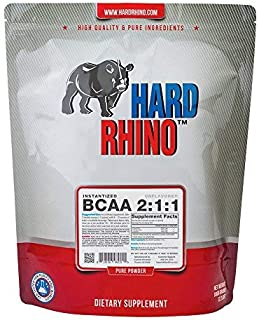 Hard Rhino BCAA 2:1:1 Instantized Powder, 1 Kilogram (2.2 Lbs), Unflavored, Lab-Tested, Scoop Included