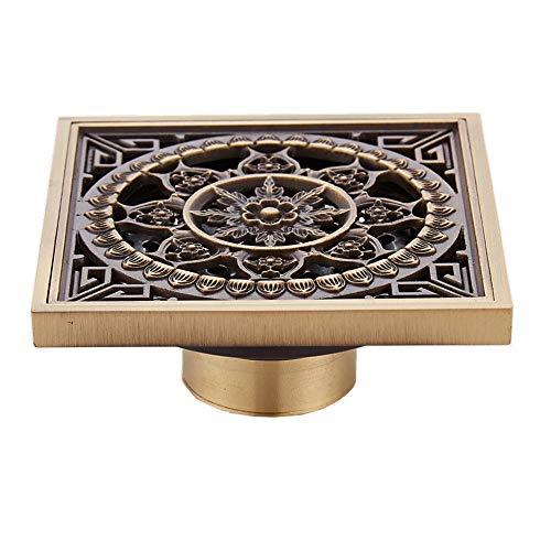 Baño de la planta de drenaje de cobre Desodorante Square Cocina baño de la planta de drenaje de bronce de acabado exquisito tallado 10cmX10cm ( Color : Gold 11 , tamaño : 10 x 10 x 4.5 cm )