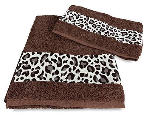 Tex family Juego de toallas de rizo Jacquard 1 + 1 cara e invitados moteado marrón saco Washy