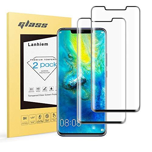 Lanhiem Vetro Temperato Huawei Mate 20 PRO, [3D Copertura Massima] Senza Bolle [Garanzia a Vita] Durezza 9H Ultra Resistente, Pellicola Protettiva Huawei Mate 20 PRO, Nero, 2 Pezzi