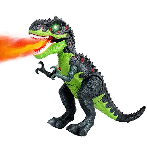 FiGoal Electric Fire Spraying T-Rex Dinosaur Toy with Roaring Sound Battery Operated Walking Tyrannosaurus Dinosaur with LED Light Up Valentine's Day Gift for Kids Toddlers 3 to 12 Years