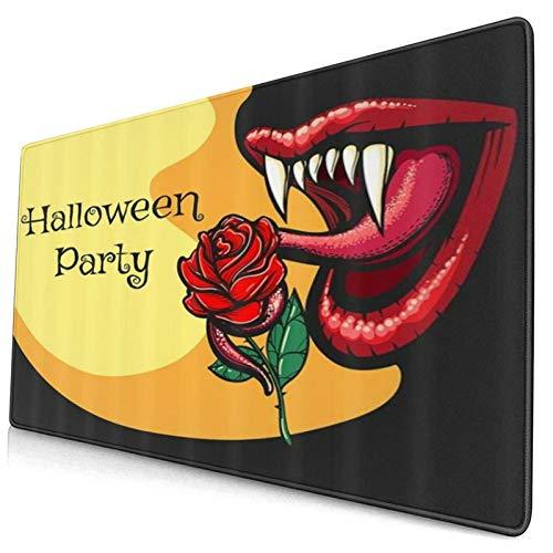 LASINSU Alfombrilla Gaming,Halloween Terror Diablo Bruja Y Rosa Dama Bruja Mujer,con Base de Goma Antideslizante,750×400×3mm