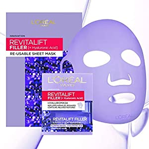 L'Oreal Revitalift Filler Hyaluronic Acid Re-Usable Sheet Face Mask + Pot Mask 50ml (Amazon Exclusive)