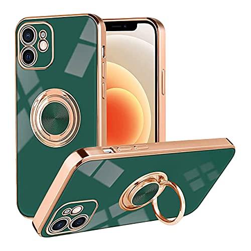 Anceky Funda compatible con iPhone 12, suave silicona TPU Slim Case con anillo giratorio 360 grados, antigolpes, funda magnética para el coche para iPhone 12, verde oscuro, Talla única