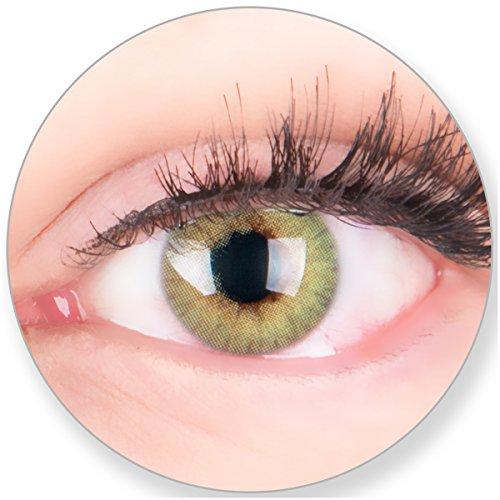 Glamlens Kontaktlinsen farbig grün ohne und mit Stärke - mit Kontaktlinsenbehälter. Sehr stark deckende natürliche grüne farbige Monatslinsen Minzgrün 1 Paar weich Silikon Hydrogel0.0 Dioptrien
