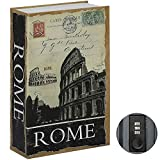 Jssmst Diversion Book Safe with Combination Lock, Faux Book Box Hidden Storage, Secrect Hidden Safe Lock Box for Home Office Code Lock Money Box, 9.5 x 6.2 x 2.2 inch, SMBS020 Rome