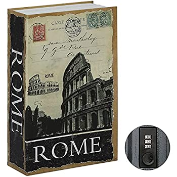 Stash Safe Jssmst Diversion Book Safe with Combination Lock, Faux Book Box Hidden Storage, Secrect Hidden Safe Lock Box for Home Office Code Lock Money Box, 9.5 x 6.2 x 2.2 inch, SMBS020 Rome