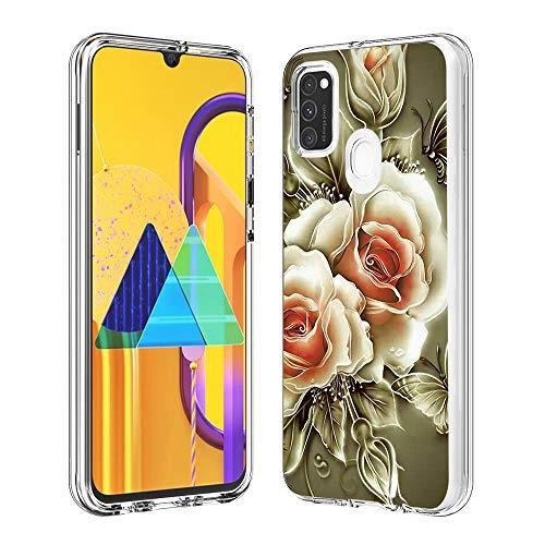 Hülle für Samsung Galaxy M30S,Durchsichtig Handyhülle Hybrid Rundumschutz (Hartplastik + Weich TPU Silikon Bumper) Ultradünne Stoßfest Schutzhülle Transparent Cover Case (Rose)