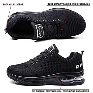 Maichal Womens Running Shoes Tennis Sneakers Air Cushion Lightweight Breathable Gym Athletic Sports All Black 9