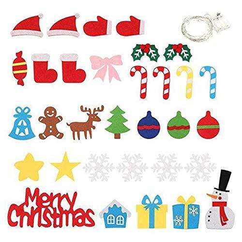 Guajave Infantil Fieltro Navidad Árbol Y Spared Adornos Lote Con LED Cuerda Luz
