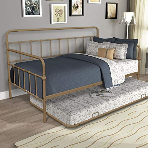 Single Bunk Bed, Twin Size Trundle Metal Bed with Headboard and Stable Metal Slats Hidden Sliding Bunk Save Space Stable and Comfortable for Bedroom/Children's Room/Guest Room/Dormitory (Brass)