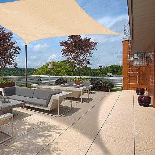 Ankuka Sonnensegel Sonnenschutz inkl Befestigungsseile, Viereck PES Polyester Sonnensegel wasserabweisend imprägniert für den Außenbereich, Garten, 98 % UV-Block, 3 x 3 m Sand beige