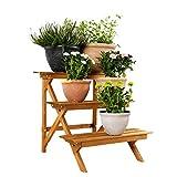 Worth Garden Estantería Decorativa para Macetas Soporte para Tiestos con Tres Estantes 60 * 60 * 60CM Color Rojo Ladrillo Soporte Artificial para Plantas Patio Balcón Jardín